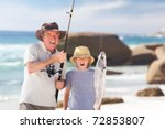 man fishing with his grandson | Shutterstock . vector #72853807