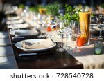 table set for wedding or... | Shutterstock . vector #728540728