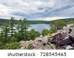 Beautiful nature background.Summer landscape at Devils Lake State Park,Baraboo area, Wisconsin,USA.View from rocky south shore Ice age trail on a lake. Nature background. Nature of Midwest, Wisconsin.