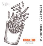 cardboard box with french fries ... | Shutterstock .eps vector #728546395
