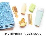 blue terry towel  wooden comb ... | Shutterstock . vector #728553076