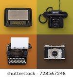 vintage electronics | Shutterstock . vector #728567248