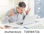 angry frustrated office worker... | Shutterstock . vector #728584726