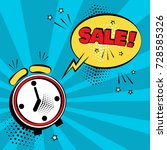 alarm clock with yellow comic... | Shutterstock .eps vector #728585326