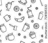 seamless pattern on coffee...   Shutterstock .eps vector #728585332