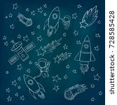 stars and meteorites  a rockets ... | Shutterstock .eps vector #728585428