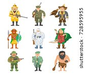 different hunters cartoon style ... | Shutterstock .eps vector #728595955