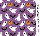 halloween seamless pattern with ... | Shutterstock .eps vector #728597596