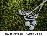 top view of iron golf club and... | Shutterstock . vector #728599555