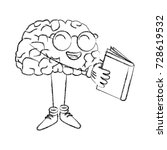cute brain reading cartoon | Shutterstock .eps vector #728619532