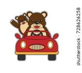 bears driving a car vector... | Shutterstock .eps vector #728626258