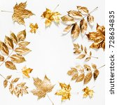 autumn composition. frame made... | Shutterstock . vector #728634835
