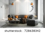 halloween party in living room  ... | Shutterstock . vector #728638342