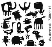 Stock vector collection of cartoon funny vector animals silhouettes 72864469