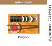 korean cuisine kimpap sushi... | Shutterstock .eps vector #728644966