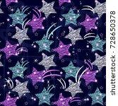 doodle star seamless background....   Shutterstock .eps vector #728650378