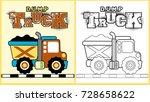 vector cartoon of dump truck ...   Shutterstock .eps vector #728658622