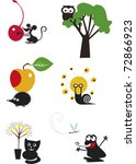 Funny Cartoon Animals  Vector...
