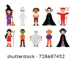 set of halloween cartoon... | Shutterstock .eps vector #728687452