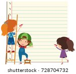 paper template with happy... | Shutterstock .eps vector #728704732