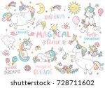 set of unicorns and different... | Shutterstock .eps vector #728711602