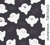 seamless halloween pattern with ... | Shutterstock .eps vector #728731612