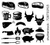 set of grill design elements.... | Shutterstock .eps vector #728731915