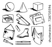 art education set   drawing ... | Shutterstock .eps vector #728735596