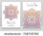 two wedding cards with... | Shutterstock .eps vector #728735782