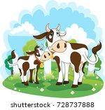 Cow And Calf  Vector...