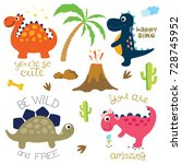 cute vector dinosaurs isolated... | Shutterstock .eps vector #728745952