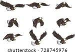 american eagle cartoon flying...   Shutterstock .eps vector #728745976