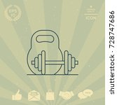 kettlebell and barbell line icon | Shutterstock .eps vector #728747686