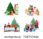christmas family dinner.... | Shutterstock .eps vector #728757646