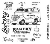 bakery food truck  hand draw... | Shutterstock .eps vector #728761858
