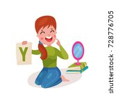smiling female speech therapist ... | Shutterstock .eps vector #728776705