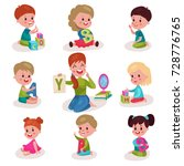 cute little boys and girls... | Shutterstock .eps vector #728776765