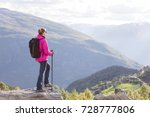 young woman hiking in norway | Shutterstock . vector #728777806