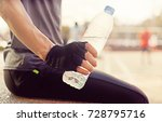 man drinking water during... | Shutterstock . vector #728795716