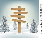 christmas wood direction board... | Shutterstock .eps vector #728810272