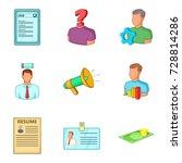 team leader icons set. cartoon... | Shutterstock .eps vector #728814286