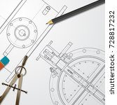 vector technical blueprint of... | Shutterstock .eps vector #728817232