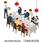 banquet  dinner party  cafe ... | Shutterstock .eps vector #728818108
