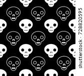 skull outline seamless pattern... | Shutterstock .eps vector #728820595