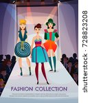 fashion collection on girls... | Shutterstock .eps vector #728823208