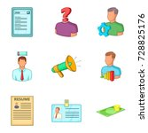 team leader icons set. cartoon... | Shutterstock .eps vector #728825176