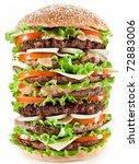Gigantic Hamburger On White...