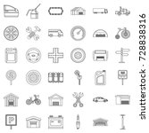 towing icons set. outline style ... | Shutterstock .eps vector #728838316