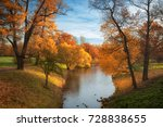 autumn orange trees  blue sky... | Shutterstock . vector #728838655
