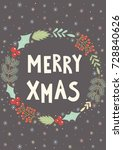 merry xmas greeting card.... | Shutterstock .eps vector #728840626